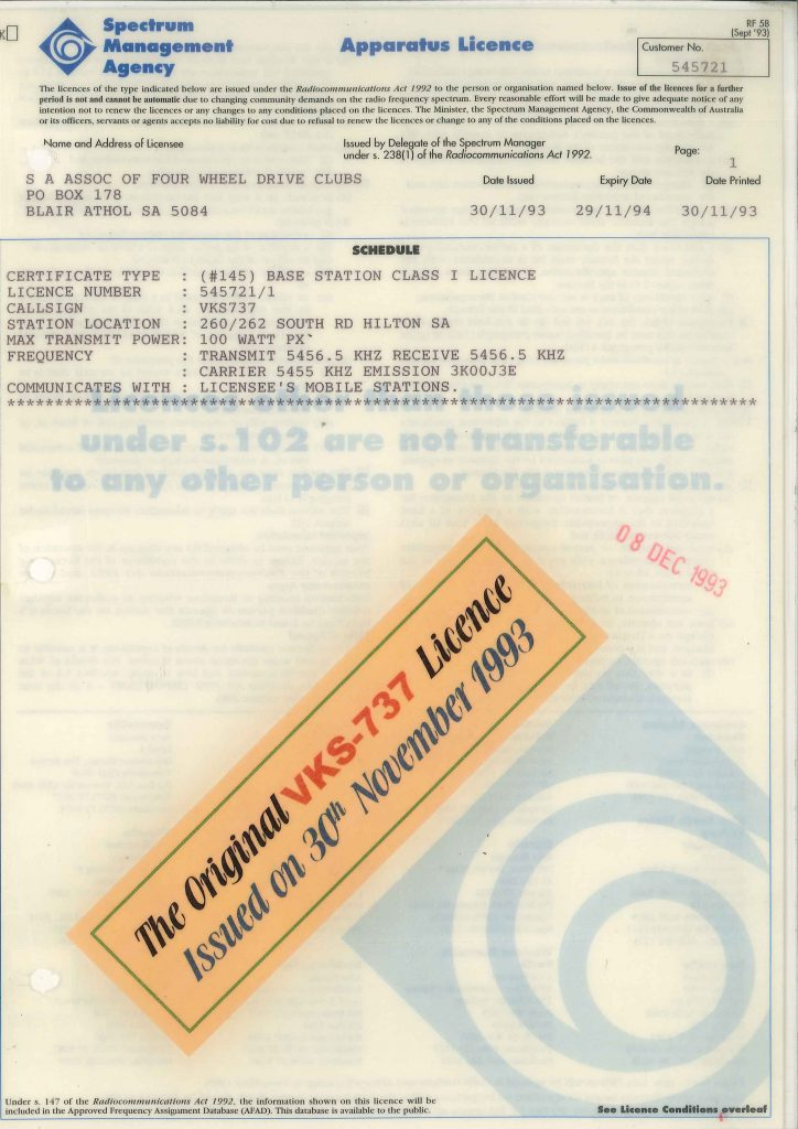 VKS-737 Original Licence Form